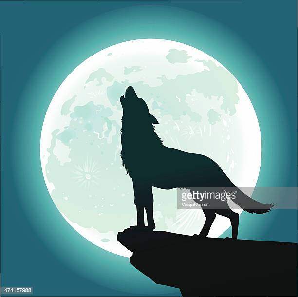 lone wolf howling at the moon - howling stock illustrations, clip art, cartoons, & icons
