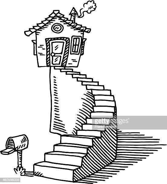 Loneliness Steps House Drawing