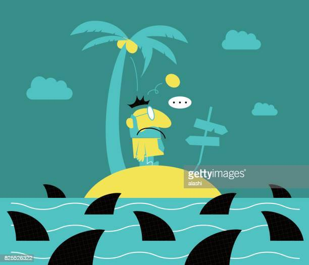 lonely businessman (man with a beard) standing on a small island, surrounded by sharks, getting hit by a coconut - coconut palm tree stock illustrations, clip art, cartoons, & icons