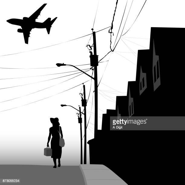 lonely life neighborhood - poverty stock illustrations