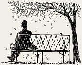 Lonely man sits on the park bench