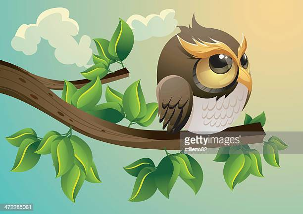 lonely owl - tree trunk stock illustrations, clip art, cartoons, & icons