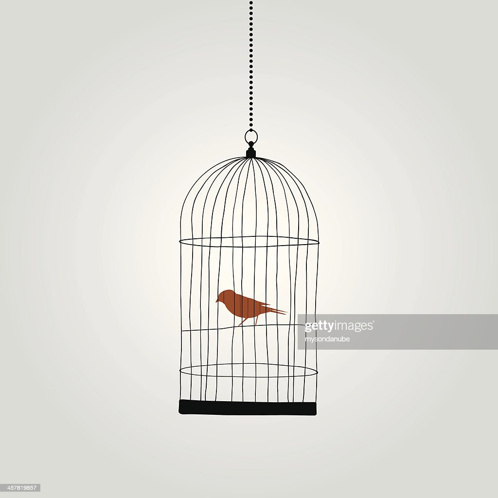 lonely red bird in birdcage. vector illustration