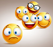Lonely smiley face vector character concept with of funny faces