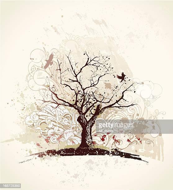 illustrations, cliparts, dessins animés et icônes de arbre solitaire - arbre sans feuillage