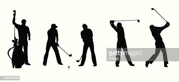 long ball vector silhouette - golf swing stock illustrations, clip art, cartoons, & icons