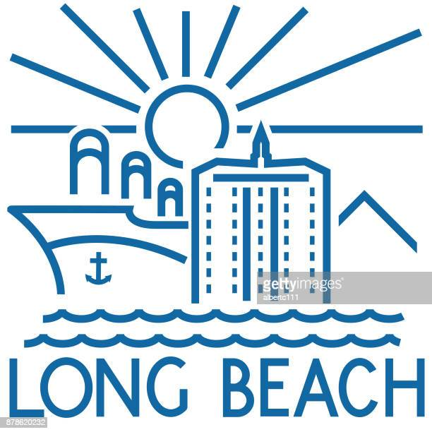 long beach california chunky cityscape - long beach california stock illustrations, clip art, cartoons, & icons