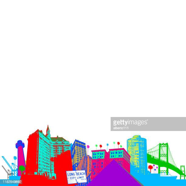 long beach california cityscape in bright colors - long beach california stock illustrations, clip art, cartoons, & icons