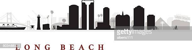 long beach california cityscape - long beach california stock illustrations, clip art, cartoons, & icons