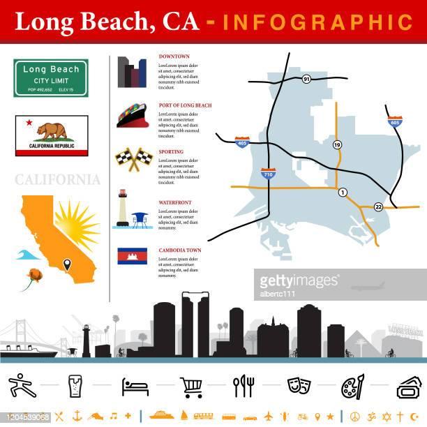 ロングビーチカリフォルニアインフォグラフィック - ロサンゼルス港点のイラスト素材/クリップアート素材/マンガ素材/アイコン素材