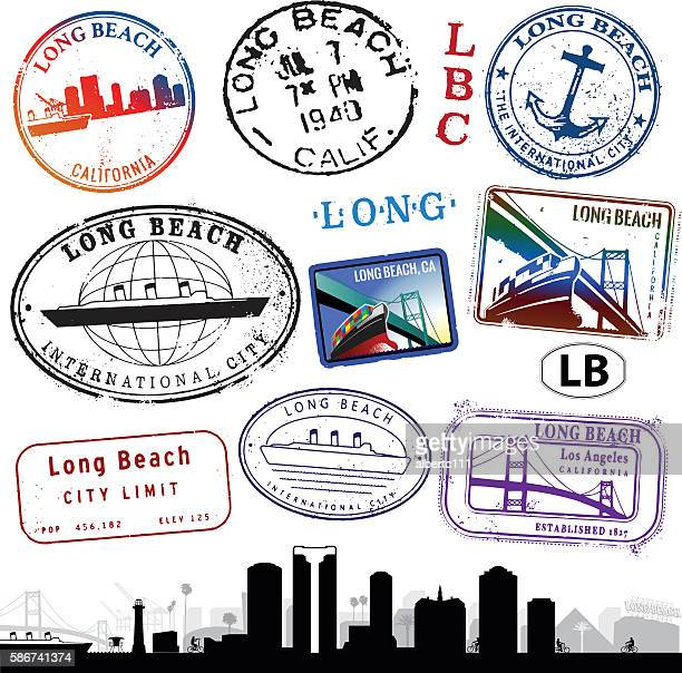 long beach california stamps and cityscape - long beach california stock illustrations, clip art, cartoons, & icons