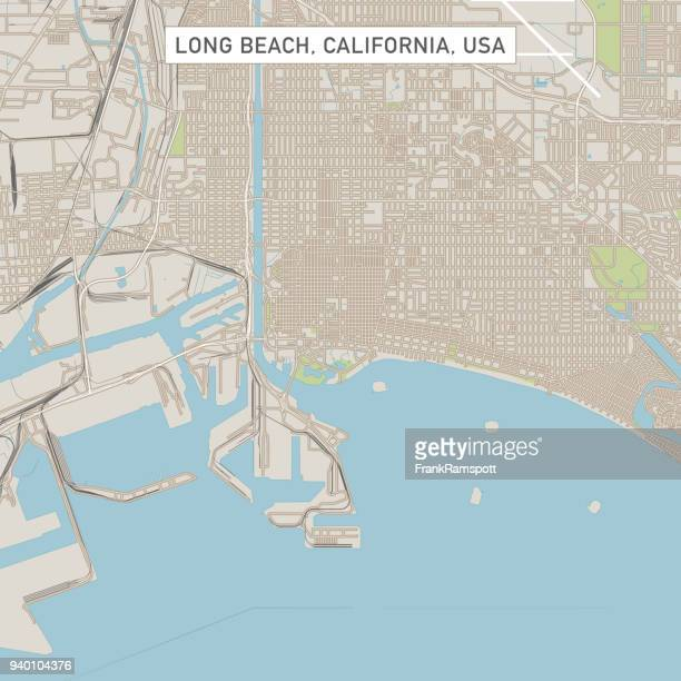 long beach california us city street map - long beach california stock illustrations