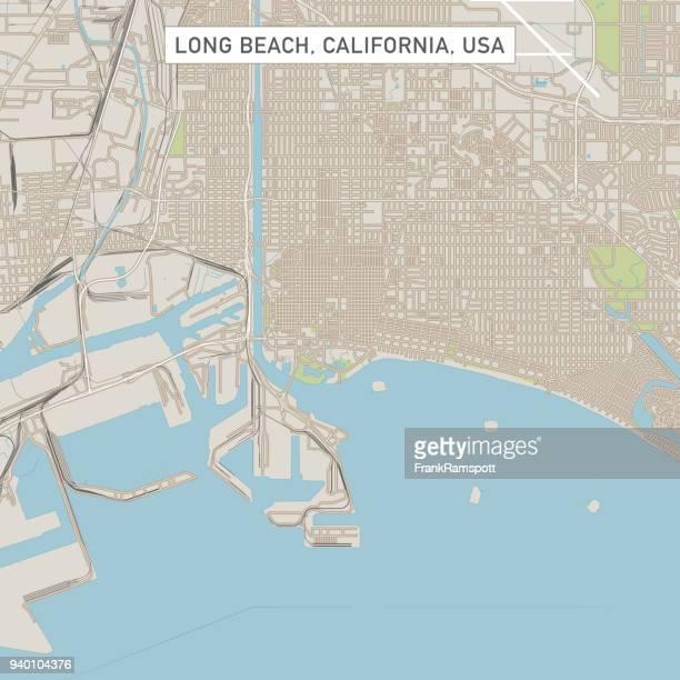 long beach california us city street map - long beach california stock illustrations, clip art, cartoons, & icons