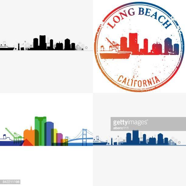 long beach cityscapes - long beach california stock illustrations, clip art, cartoons, & icons
