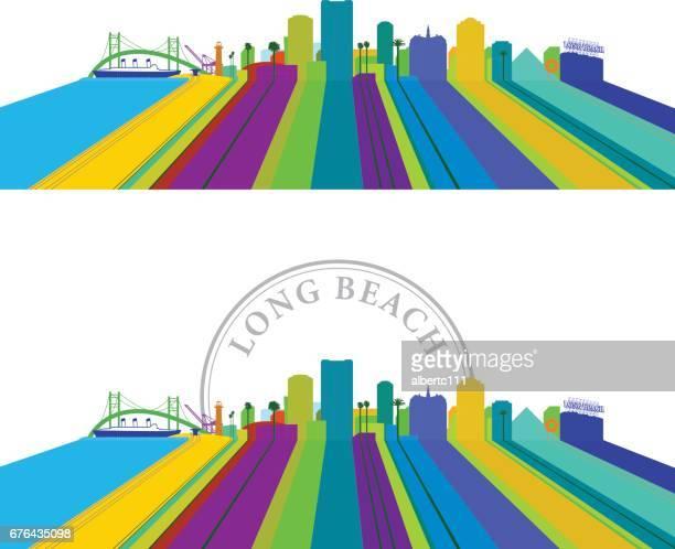 long beach lined cityscape - long beach california stock illustrations, clip art, cartoons, & icons