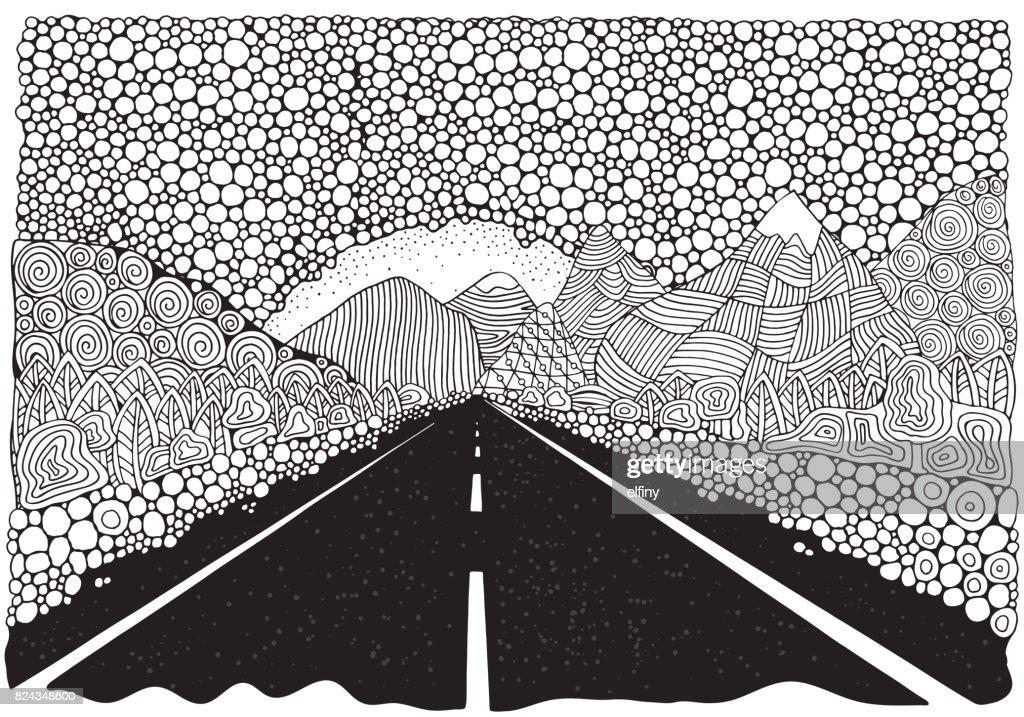 Long car highway stretching into the distance and mountains. landscape. Anti stress Coloring Book page for adult. Black and White vector