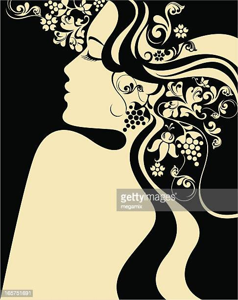 long hair beauty. - goddess stock illustrations, clip art, cartoons, & icons