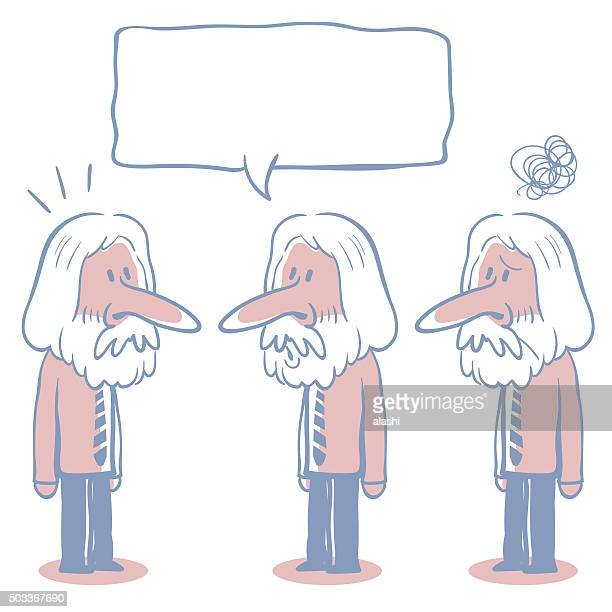 long hair senior businessman (teacher) doodle emotion, talking, smiling, confuse - cartoon characters with big noses stock illustrations, clip art, cartoons, & icons