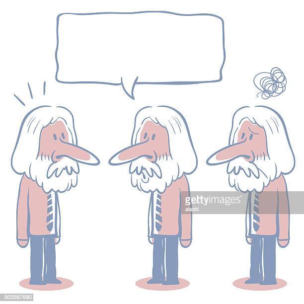 Long Hair Senior Businessman (teacher) Doodle Emotion, Talking, Smiling, Confuse