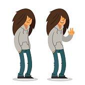 Long haired teen