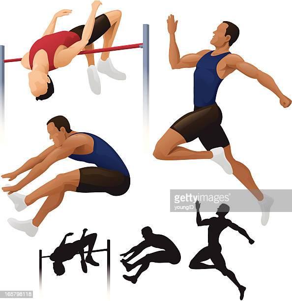 ilustraciones, imágenes clip art, dibujos animados e iconos de stock de long & salto de altura. - salto de longitud