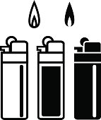Long Lighters icon in linear and silhouette style