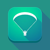 Long shadow app button with a paraglider