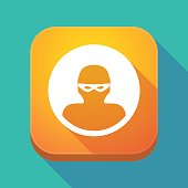 Long shadow app icon with a thief