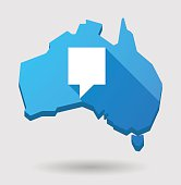 Long shadow Australia map icon with a tooltip