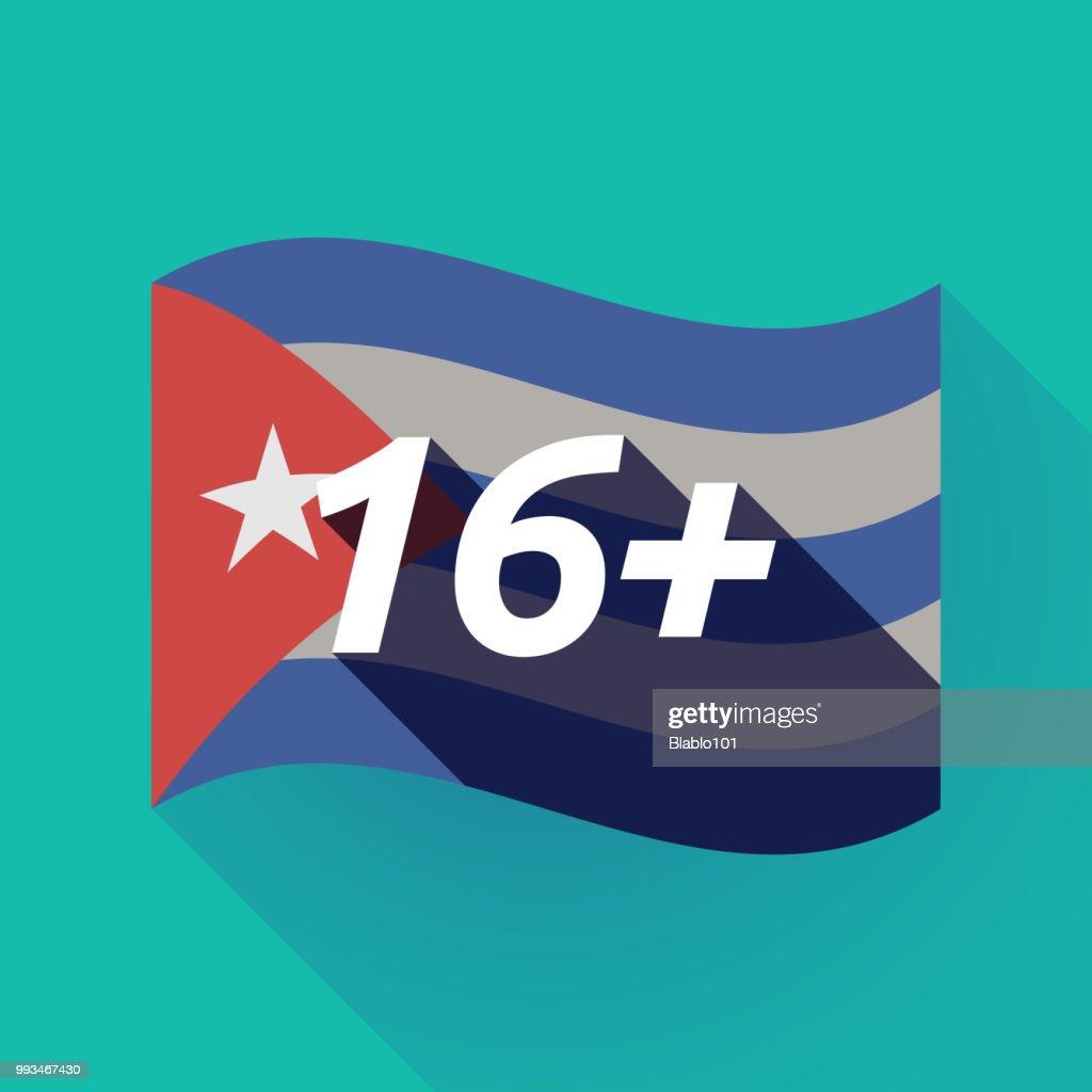 Long shadow Cuba flag with    the text 16+