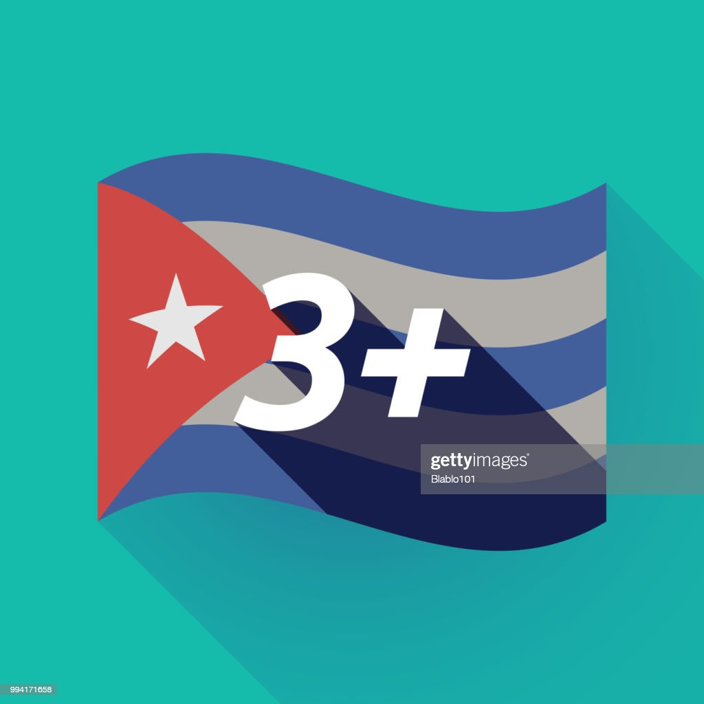 Long shadow Cuba flag with    the text 3+