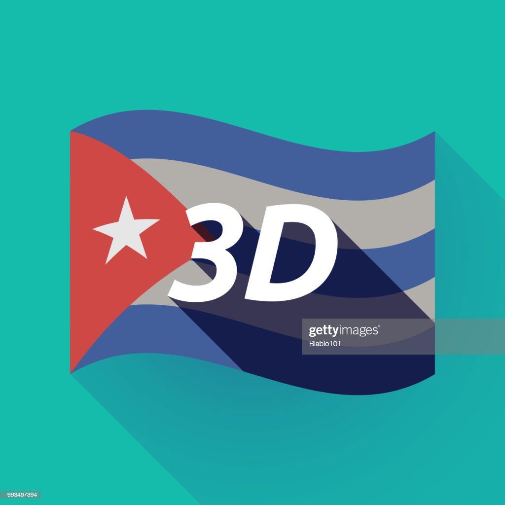 Long shadow Cuba flag with    the text 3D