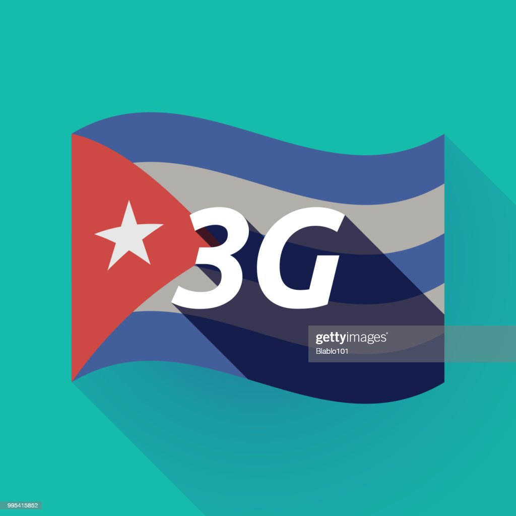 Long shadow Cuba flag with    the text 3G