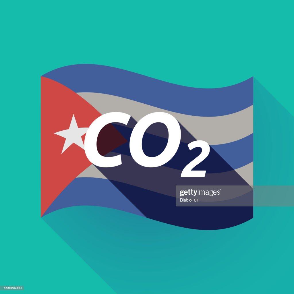 Long shadow Cuba flag with    the text CO2