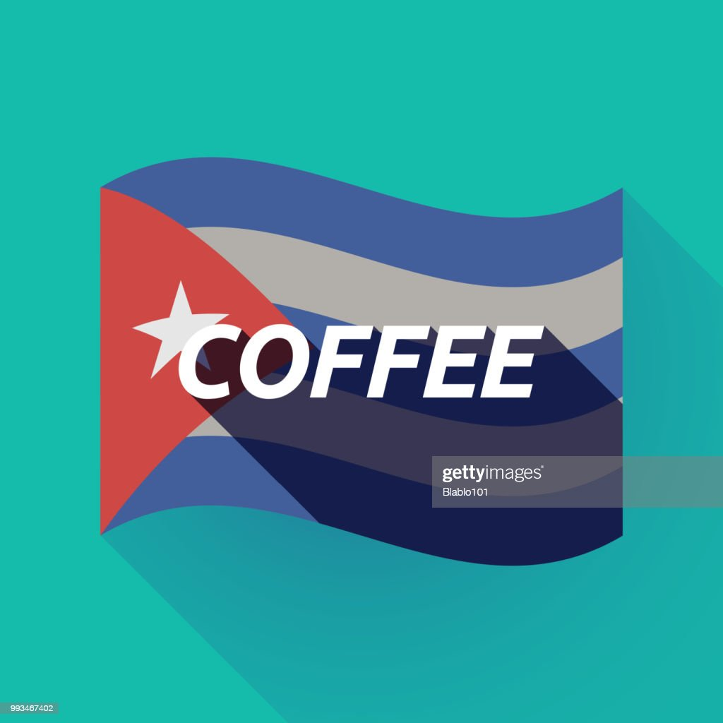 Long shadow Cuba flag with    the text COFFEE