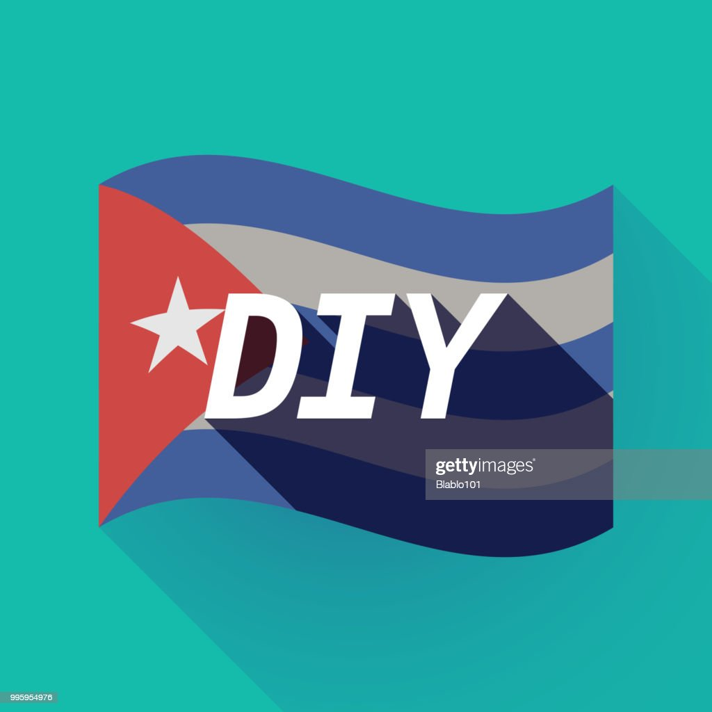 Long shadow Cuba flag with    the text DIY