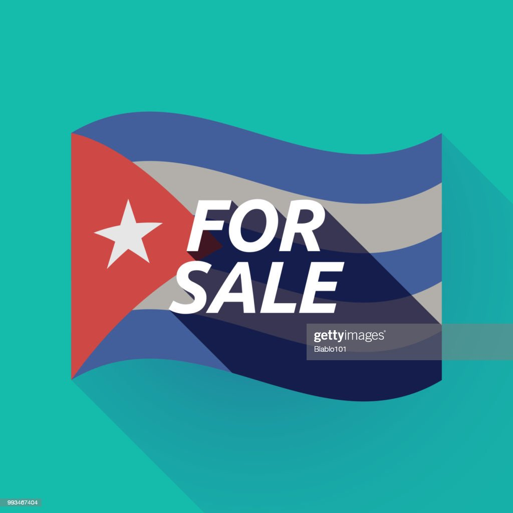 Long shadow Cuba flag with    the text FOR SALE