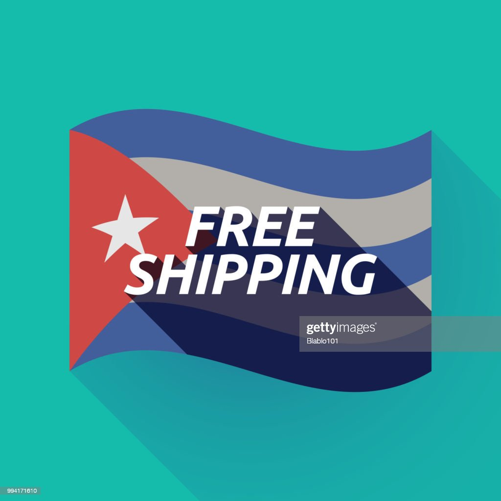 Long shadow Cuba flag with    the text FREE SHIPPING