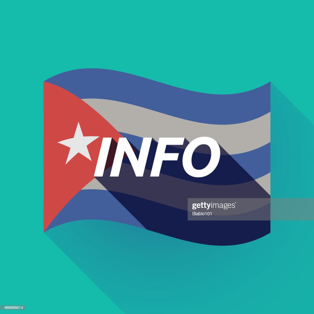 Long shadow Cuba flag with    the text INFO