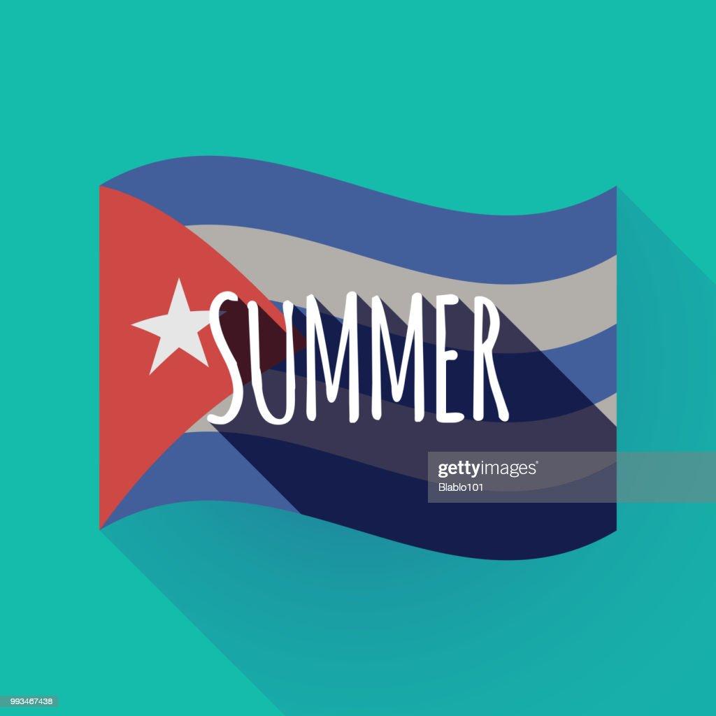 Long shadow Cuba flag with    the text SUMMER