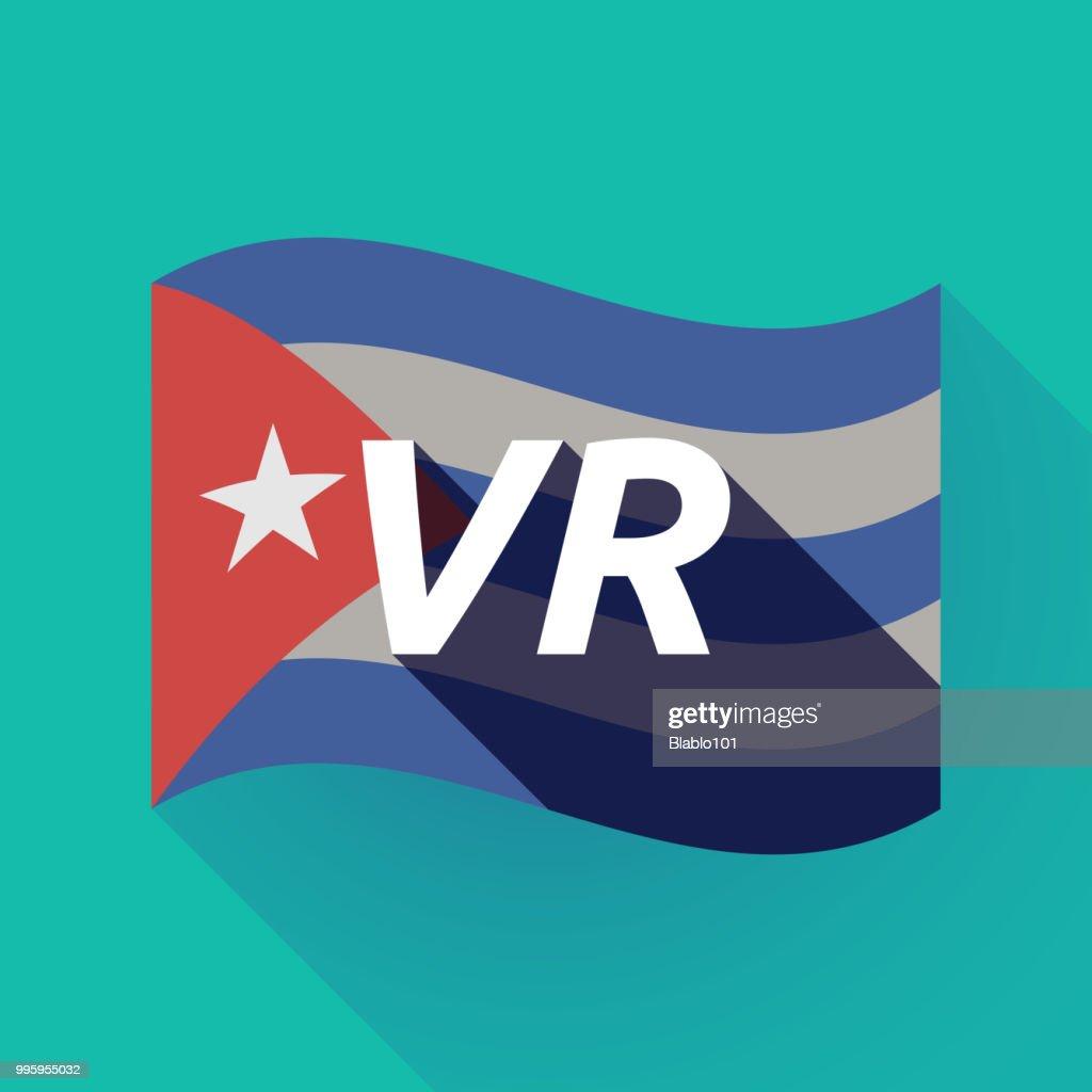 Long shadow Cuba flag with    the virtual reality acronym VR