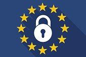 Long shadow EU flag with  a closed lock pad