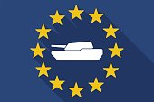 Long shadow EU flag with  a combat tank