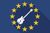 Long shadow EU flag with  a four string electric bass guitar