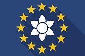 Long shadow EU flag with  a lotus flower