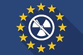 Long shadow EU flag with  a radioactivity sign  in a not allowed signal