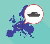 Long shadow EU map with  a combat tank