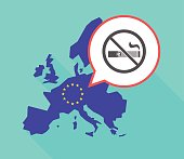 Long shadow EU map with  an e-cigarette  in a not allowed signal