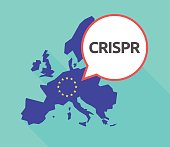 Long shadow EU map with  the clustered regularly interspaced short palindromic repeats acromym CRISPR