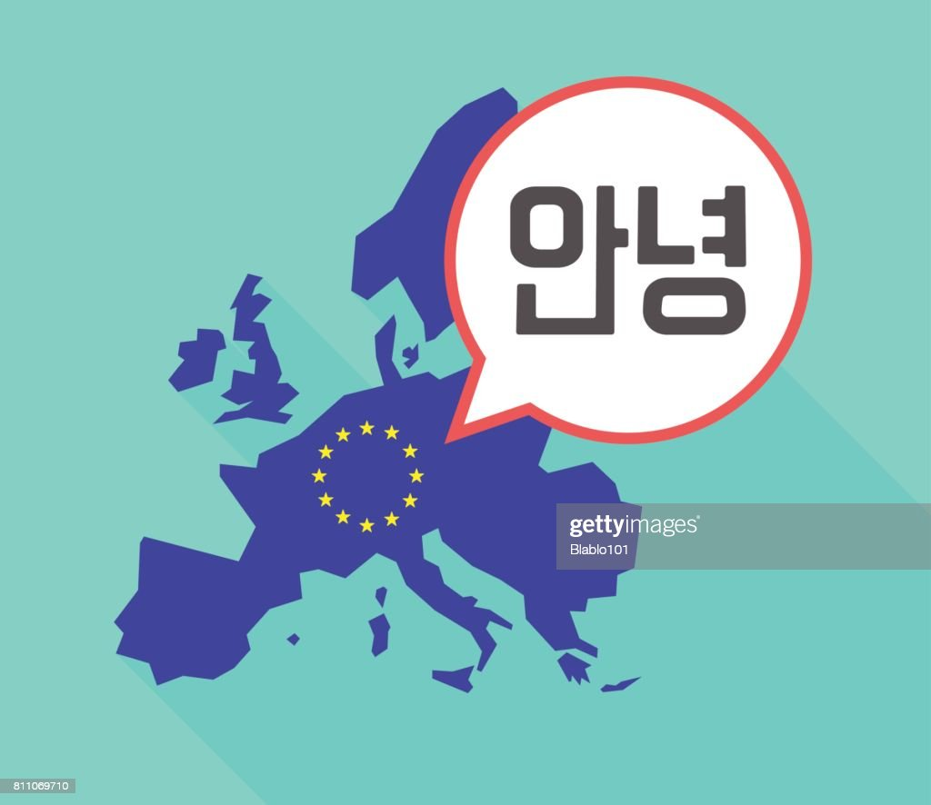 Long shadow EU map with  the text Hello in the Korean  language